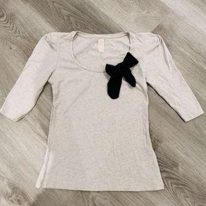Zara half sleeve top with a black bow